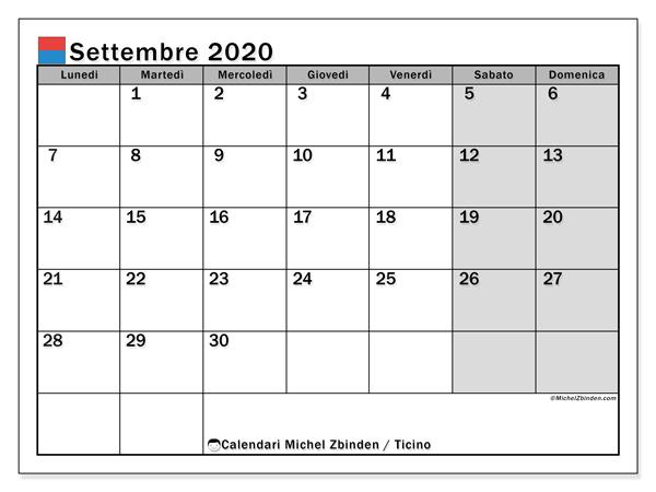 Calendario 2020 Ticino.Calendario Settembre 2020 Ticino Michel Zbinden It