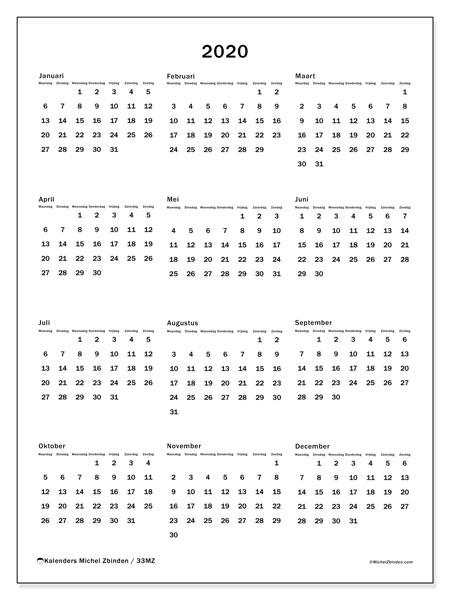 Kalender 2020, 33MZ. Kalender om gratis te printen.