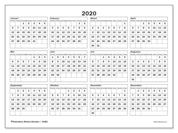 Kalender 2020, 34MZ. Kalender voor het jaar gratis afdrukken.