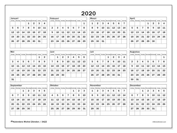 Kalender 2020, 34ZZ. Kalender voor het jaar gratis afdrukken.