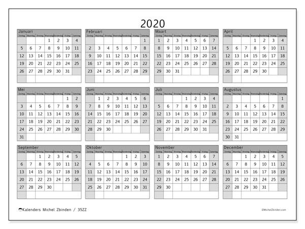 Kalender 2020, 35ZZ. Kalender om gratis te printen.