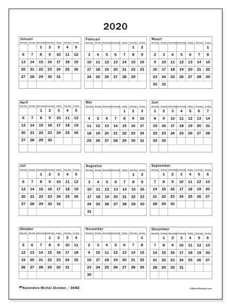 Kalender 2020, 36MZ. Kalender voor het jaar gratis afdrukken.