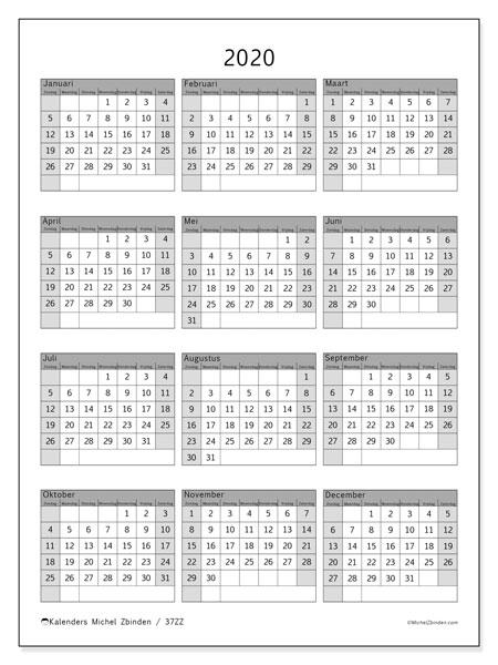 Kalender 2020, 37ZZ. Gratis kalender om af te drukken.