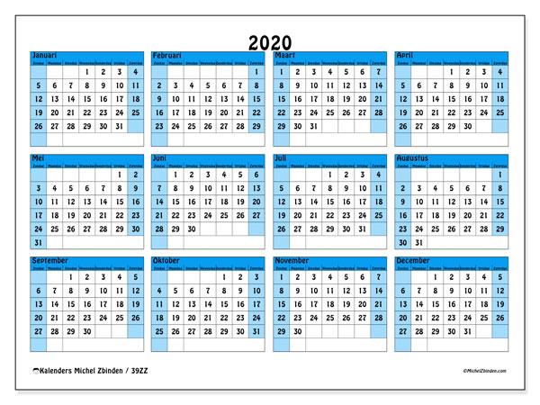 Kalender 2020, 39ZZ. Jaarkalender om gratis te printen.