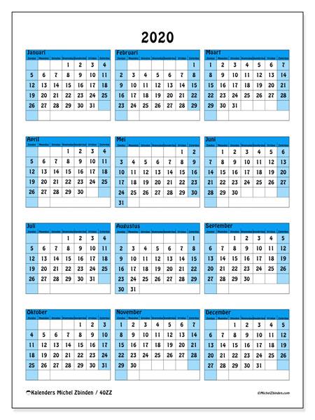 Kalender 2020, 40ZZ. Jaarkalender om gratis te printen.