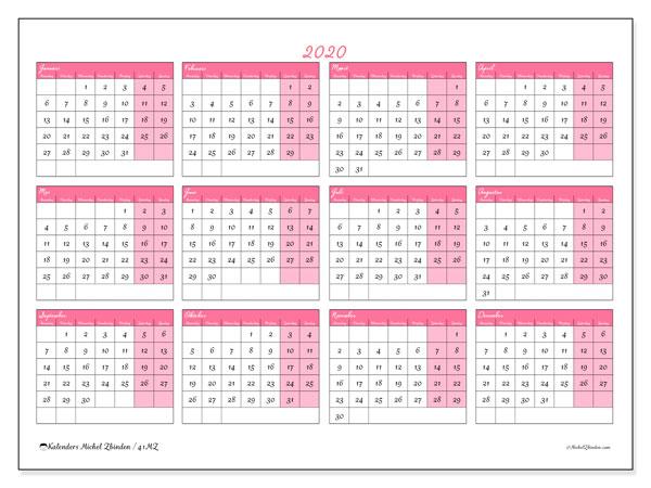 Kalender 2020, 41MZ. Kalender om gratis af te drukken.