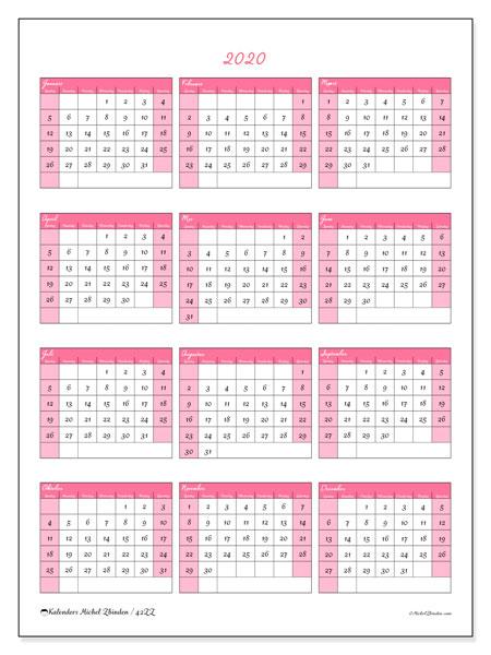 Kalender 2020, 42ZZ. Kalender voor het jaar gratis afdrukken.