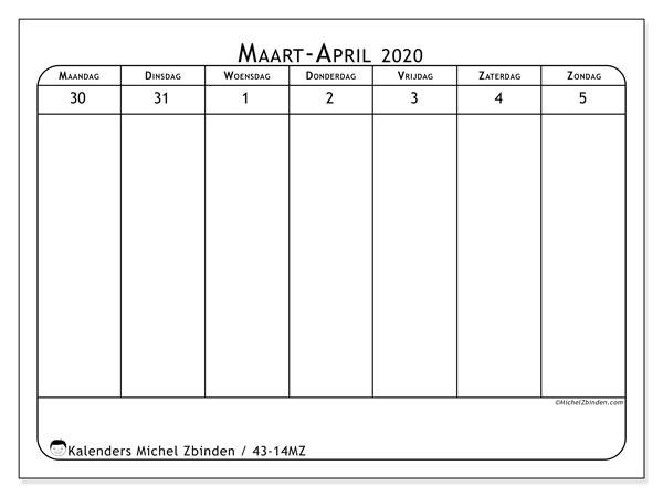 Kalender 2020, 43-14MZ. Gratis kalender om af te drukken.