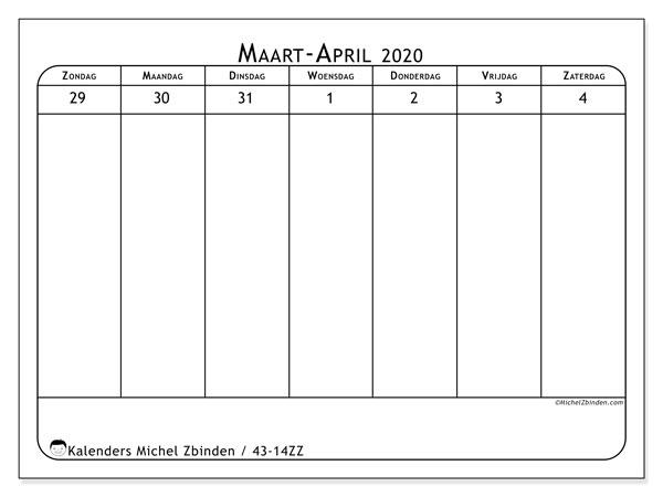 Kalender 2020, 43-14ZZ. Agenda om gratis te printen.
