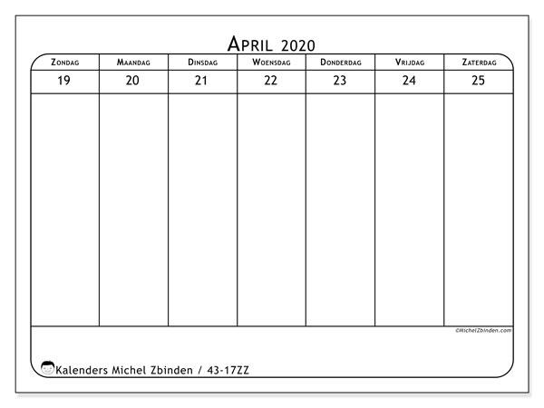 Kalender 2020, 43-17ZZ. Kalender voor de week om gratis te printen.