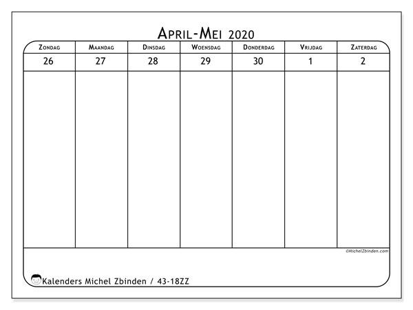 Kalender 2020, 43-18ZZ. Schema om gratis te printen.