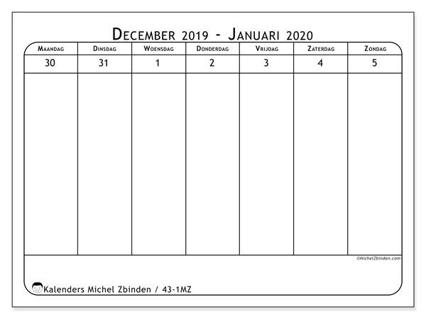 Kalender 2020, 43-1MZ. Gratis printbare kalender.
