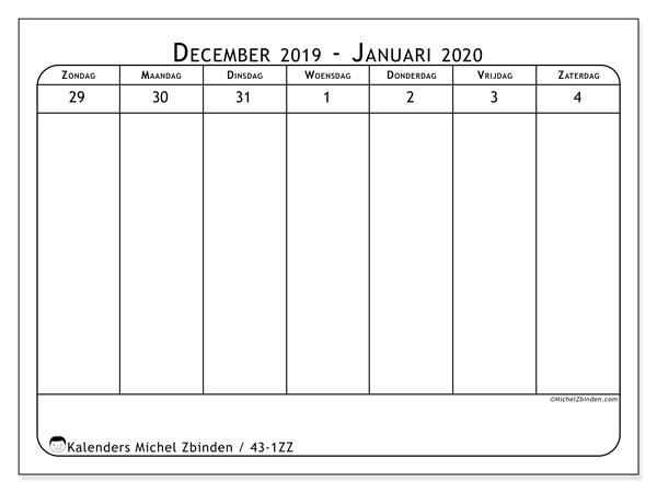 Kalender 2020, 43-1ZZ. Kalender voor de week om gratis te printen.