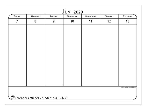 Kalender 2020, 43-24ZZ. Wekelijkse kalender om gratis te printen.