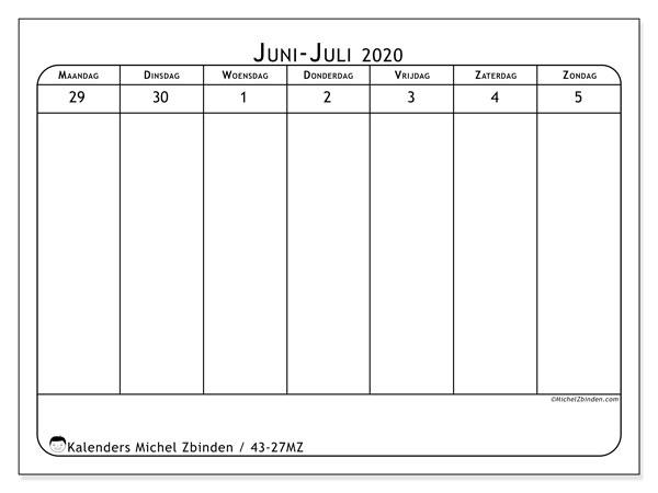 Kalender 2020, 43-27MZ. Wekelijkse kalender om gratis te printen.