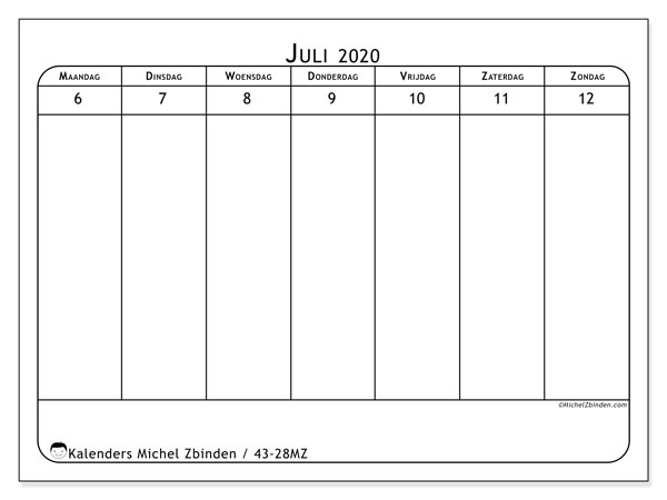 Kalender 2020, 43-28MZ. Agenda om gratis te printen.