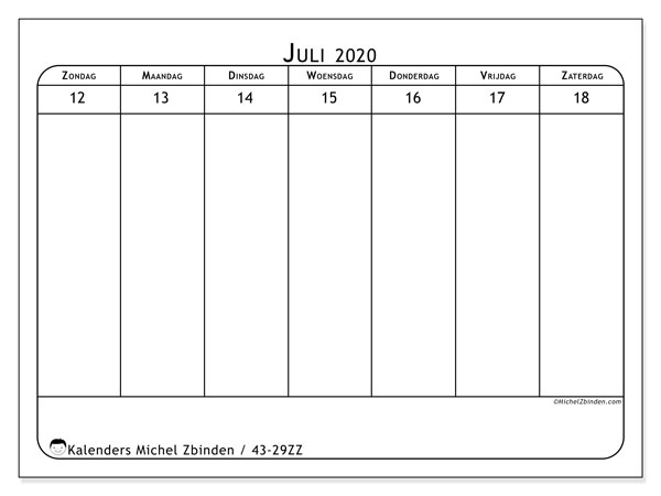 Kalender 2020, 43-29ZZ. Kalender voor de week om gratis te printen.