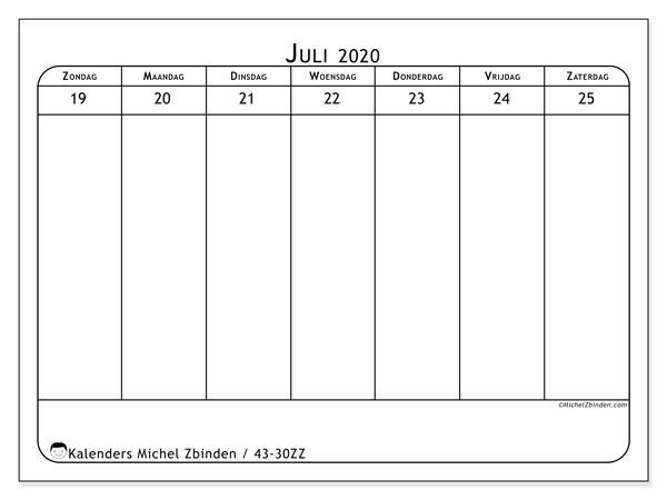 Kalender 2020, 43-30ZZ. Schema om gratis te printen.
