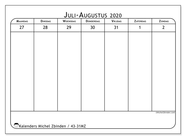 Kalender 2020, 43-31MZ. Kalender voor de week om gratis te printen.