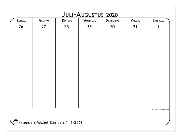 Kalender 2020, 43-31ZZ. Agenda om gratis te printen.