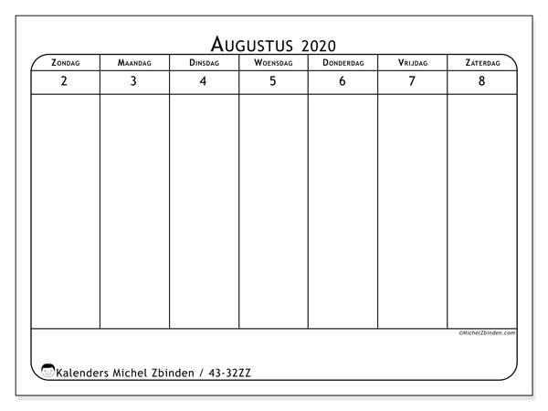 Kalender 2020, 43-32ZZ. Gratis afdrukbare kalender.