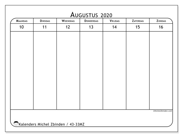 Kalender 2020, 43-33MZ. Wekelijkse kalender om gratis te printen.
