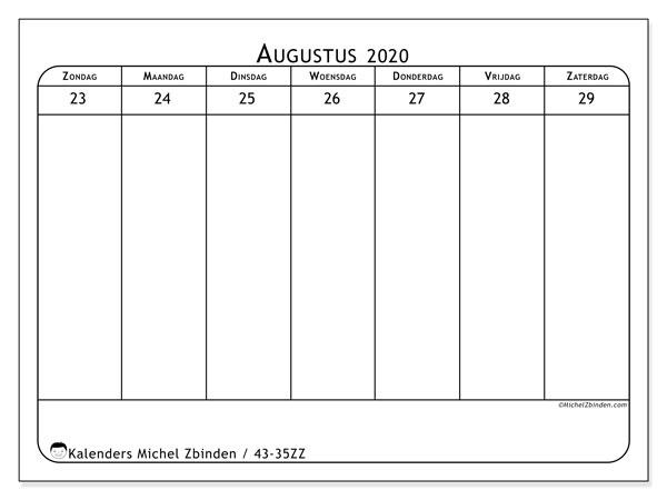 Kalender 2020, 43-35ZZ. Kalender voor de week om gratis te printen.