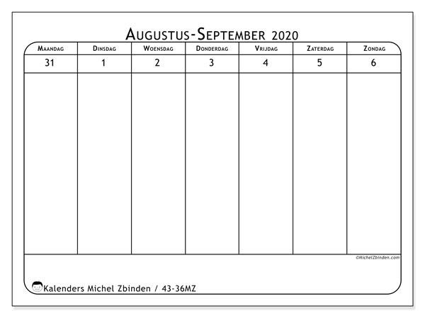 Kalender 2020, 43-36MZ. Kalender voor de week om gratis te printen.