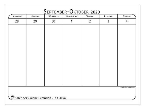 Kalender 2020, 43-40MZ. Kalender voor de week om gratis te printen.