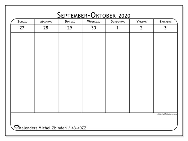 Kalender 2020, 43-40ZZ. Wekelijkse kalender om gratis te printen.
