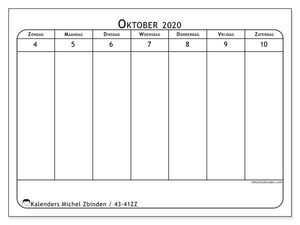 Kalender 2020, 43-41ZZ. Schema om gratis te printen.