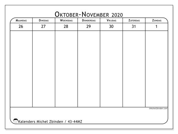 Kalender 2020, 43-44MZ. Kalender voor de week om gratis te printen.