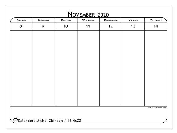 Kalender 2020, 43-46ZZ. Wekelijkse kalender om gratis te printen.