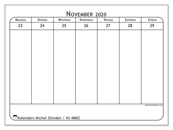 Kalender 2020, 43-48MZ. Wekelijkse kalender om gratis te printen.
