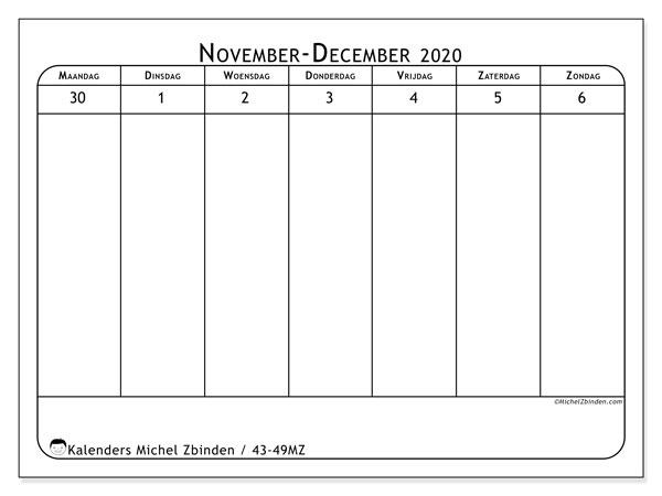 Kalender 2020, 43-49MZ. Gratis printbare kalender.