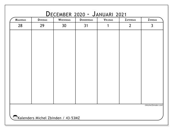 Kalender 2020, 43-53MZ. Kalender om gratis te printen.