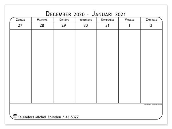 Kalender 2020, 43-53ZZ. Agenda om gratis te printen.