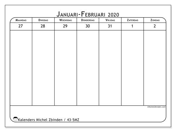 Kalender 2020, 43-5MZ. Kalender voor de week om gratis te printen.
