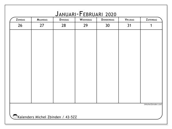 Kalender 2020, 43-5ZZ. Schema om gratis te printen.