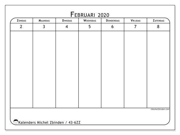 Kalender 2020, 43-6ZZ. Gratis kalender om af te drukken.