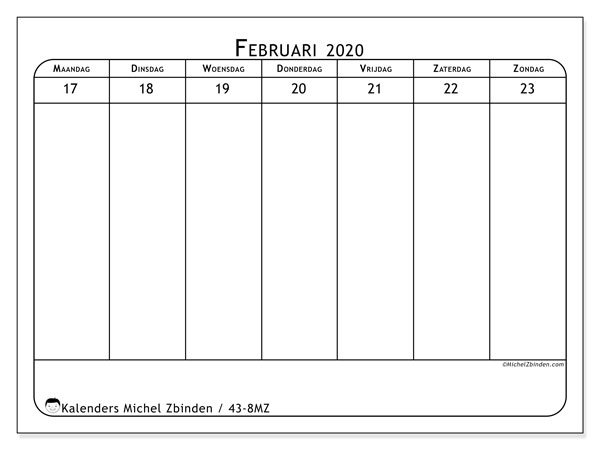 Kalender 2020, 43-8MZ. Gratis afdrukbare kalender.