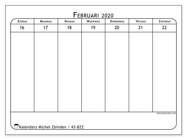 Kalender 2020, 43-8ZZ. Wekelijkse kalender om gratis te printen.