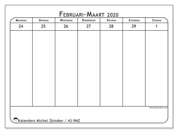 Kalender 2020, 43-9MZ. Gratis kalender om af te drukken.