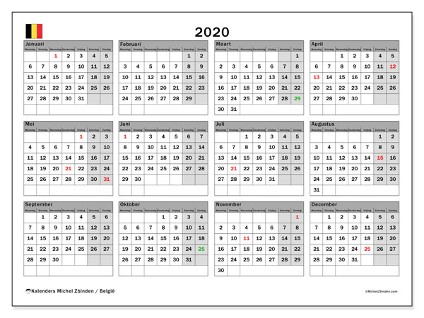 Kalender 2020, met feestdagen in België. Kalender feestdagen om gratis te printen.