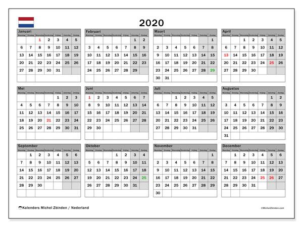 Kalender 2020, met feestdagen in Nederland. Kalender om gratis te printen met feestdagen.