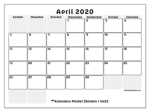 Kalender april 2020, 44ZZ. Gratis afdrukbare kalender.