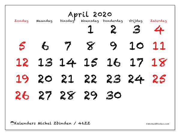 Kalender april 2020, 46ZZ. Maandkalender om gratis te printen.