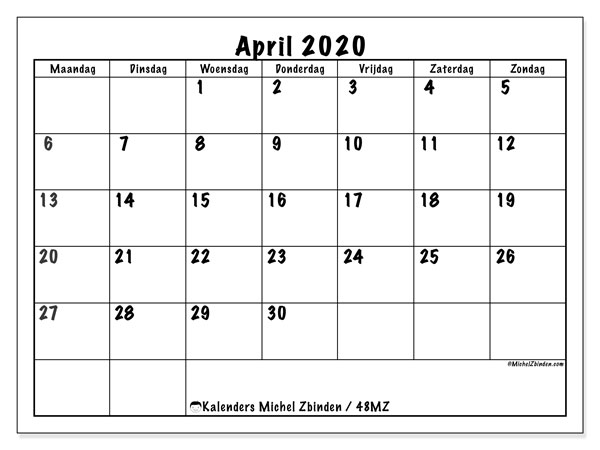 Kalender april 2020, 48MZ. Agenda om gratis te printen.