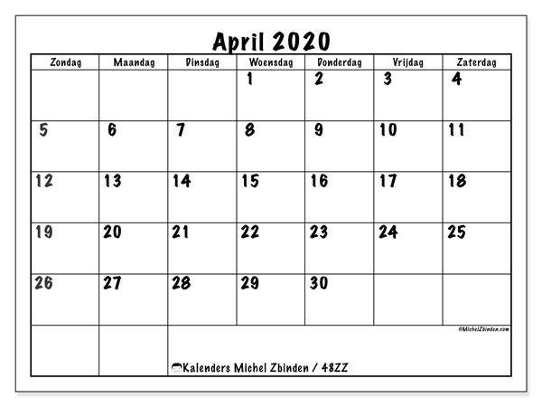 Kalender april 2020, 48ZZ. Agenda om gratis te printen.