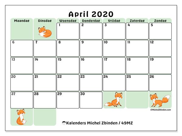 Kalender april 2020, 49MZ. Kalender om gratis te printen.